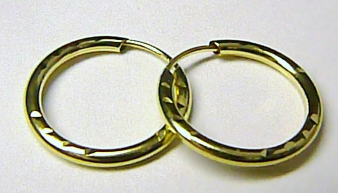 Luxusní zlaté kruhy ze žlutého zlata 585/0,40gr (zlaté kroužky 15mm) T048
