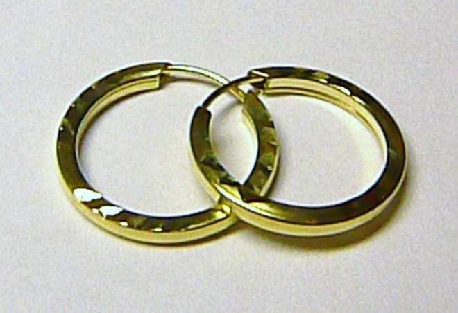 Zlaté kruhy - zlaté náušnice kroužky 16mm 585/0,75gr T054