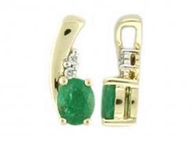 Zlatý přívěsek z bílého zlata se smaragdem (emerald) a diamanty 2ks