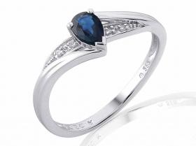 Zásnubní prsten z bílého zlata s modrým safírem a diamanty (4ks) 585/2,0gr V.53