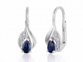 Luxusní diamantové náušnice z bílého zlata s modrými safíry a diamanty