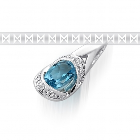 Diamantový přívěsek z bílého zlata s diamanty a světle modrým topazem 585/1,15gr