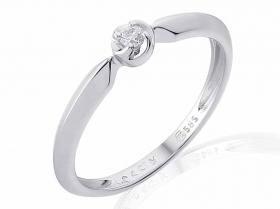 Zásnubní prsten s diamantem, bílé zlato briliant, safír