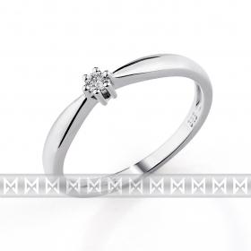Zásnubní prsten s diamantem, bílé zlato brilianty (3860218-0-51-99)
