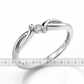Zásnubní prsten s diamantem, bílé zlato brilianty