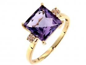 Prsten s diamantem, žluté zlato briliant, ametyst fialový