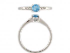 Prsten s diamantem, bílé zlato briliant, modrý topaz (blue topaz)