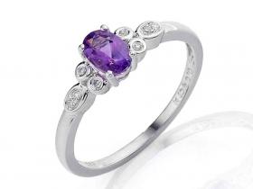 Prsten s diamantem, bílé zlato briliant, ametyst fialový
