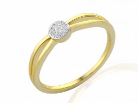 Zásnubní prsten s diamantem, žluté zlato brilianty v kombinaci s lesklou bílou p