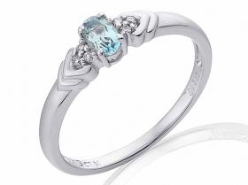 Prsten s diamantem, bílé zlato briliant, akvamarín