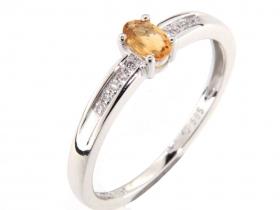 Prsten s diamantem, bílé zlato briliant, citrín