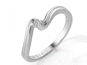 Prsten s diamantem, bílé zlato brilianty (3860089-0-51-99)