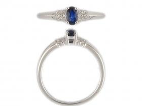 Prsten s diamantem, bílé zlato briliant, modrý safír