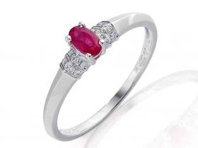 Prsten s diamantem, bílé zlato briliant, rubín