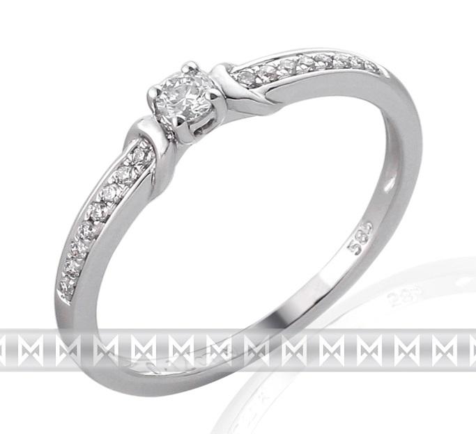 Zásnubní prsten s diamantem, bílé zlato brilianty (3860836-0-54-99)