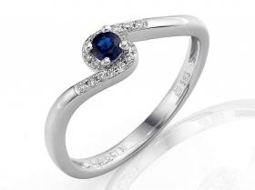 Prsten s diamantem, bílé zlato briliant, safír (3861126-0-54-92)