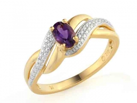 Prsten s diamantem, žluté zlato briliant, ametyst fialový v kombinaci s lesklou