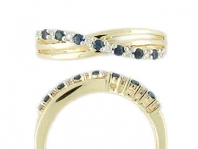 Prsten s diamantem, žluté zlato briliant, safír v kombinaci s lesklou bílou povr