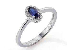 Prsten s diamantem, bílé zlato briliant, safír
