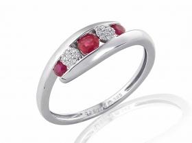 Prsten s diamantem, bílé zlato briliant, červený rubín