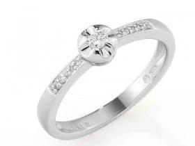 Zásnubní prsten s diamantem, bílé zlato brilianty (3861276-0-54-99)