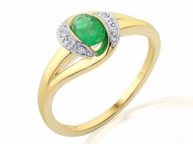 Prsten s diamantem, žluté zlato briliant, smaragd (emerald) v kombinaci s lesklo