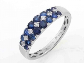 Prsten s diamantem, bílé zlato briliant, safír (3861121-0-53-92)