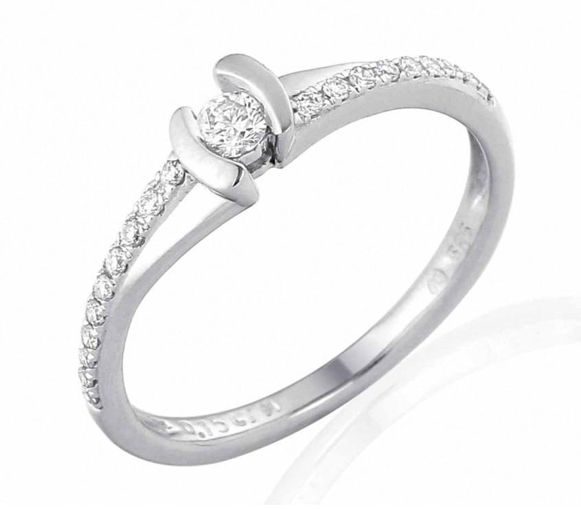 Zásnubní prsten s diamantem, bílé zlato brilianty (3860840-0-53-99)