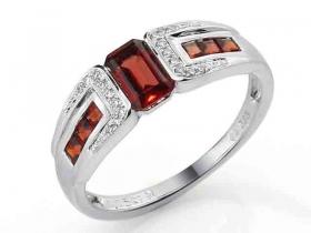 Prsten s diamantem, bílé zlato briliant, granát (3861727-0-55-81)