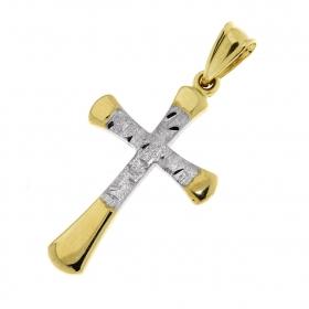 Přívěšek žluté zlato v kombinaci s matnou bílou povrchovou úpravou zlatý křížek