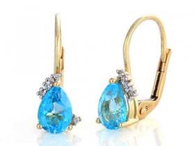 Diamantové náušnice, žluté zlato briliant, modrý topaz (blue topaz) 585/1,95 gr