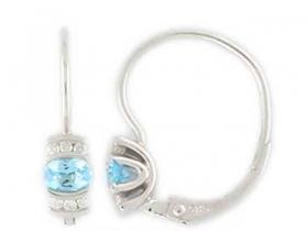Diamantové náušnice, bílé zlato briliant, modrý topaz (blue topaz) 585/1,55 gr