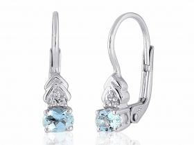 Diamantové náušnice, bílé zlato briliant, světle modrý akvamarín 585/1,8gr