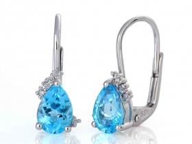Diamantové náušnice, bílé zlato briliant, modrý topaz (blue topaz) 585/1,7 gr
