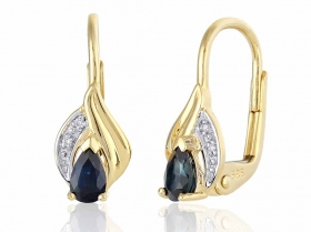 Diamantové náušnice, žluté zlato briliant, tmavě modrý safír 585/1,7 gr