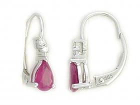 Diamantové náušnice, bílé zlato briliant, červený rubín 585/1,65 gr