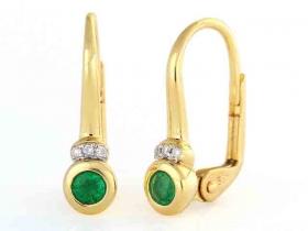 Diamantové náušnice, žluté zlato briliant, smaragd (emerald)