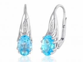 Diamantové náušnice, bílé zlato briliant, modrý topaz (blue topaz)