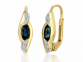Diamantové náušnice, žluté zlato briliant, tmavý safír 585/2,05 gr