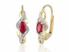 Diamantové náušnice, žluté zlato briliant, červený rubín 585/2,30 gr