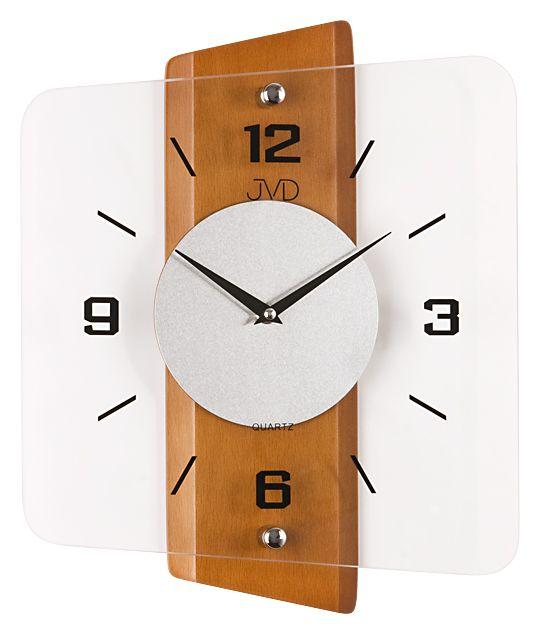 Skleněné dřevěné Nástěnné hodiny JVD quartz N20131.41