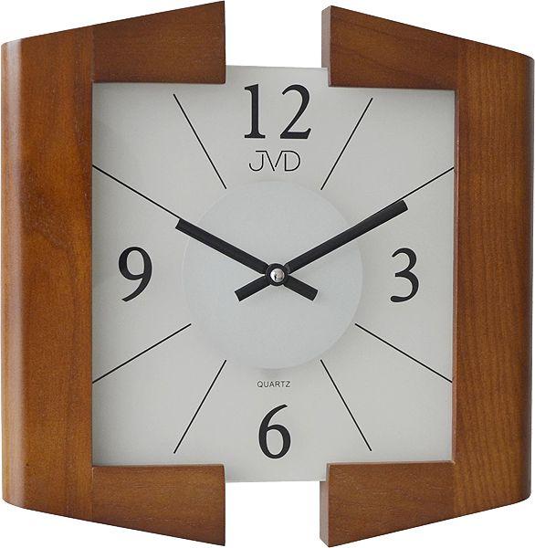 Dřevěné hnědé skleněné nástěnné hodiny JVD N12047. 11