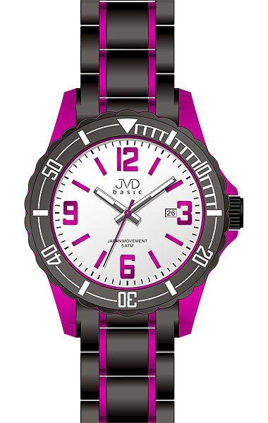 Luxusní dětské fialovo-černé chlapecké hodinky JVD basic J3004.2 pro teenagery