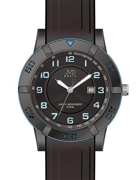 Černé chlapecké vodotěsné hodinky JVD basic J3003.3 pro teenagery