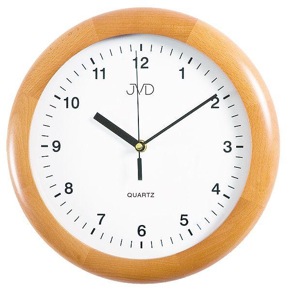 Dřevěné čitelné kulaté nástěnné hodiny JVD quartz N2341.68