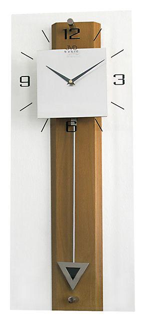 Dřevěné skleněné kyvadlové velké nástěnné hodiny JVD quartz N2233.11