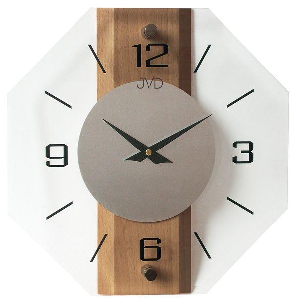 Stylové skleněné dřevěné moderní nástěnné hodiny JVD quartz N2238.11