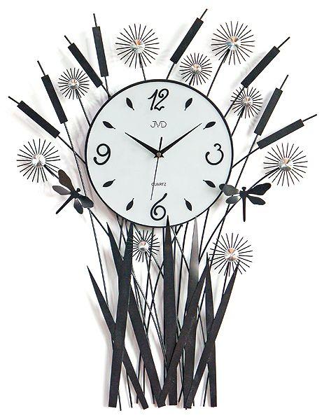 Luxusní kovové květinové nástěnné designové hodiny JVD HJ28