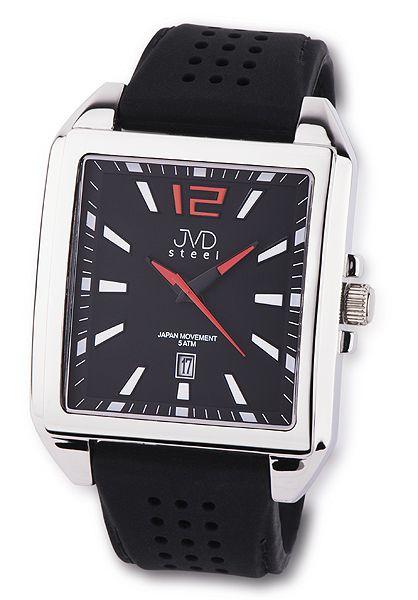 Ocelové moderní hranaté pánské náramkové hodinky JVD steel J1081.1