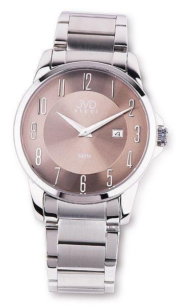 Pánské ocelové moderní stříbrné náramkové hodinky JVD steel W18.3 5ATM